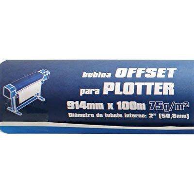 """Bobina para plotter, 914mmx100m, 75g offset (2"""" diam.inter.), Spiral - PT 1 BB"""