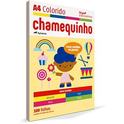 Papel Sulfite Chamequinho A4 75g com 4 Cores (Amarelo, Azul, Rosa e Verde) Ipaper PT 100 FL