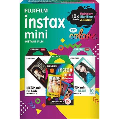 Papel fotográfico Fuji Instax mini com 30 kit colors Fuji Film PT 1 UN