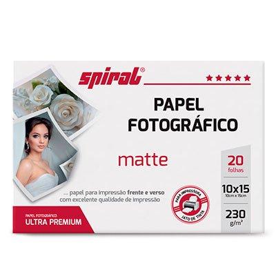 Papel fotográfico 10x15cm 230g matte paper double M230-20 Spiral PT 20 FL