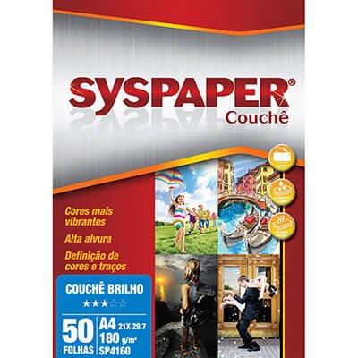 Papel 180g 210x297 couche c/brilho SP4160 Syspaper PT 50 FL