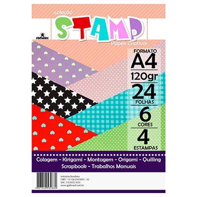 Bloco Stamp 120g  A4 c/6 cores 3288r Romitec PT 24 FL