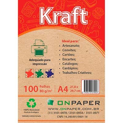Papel Kraft A4 80g alto brilho 423,5 On Paper PT 100 FL