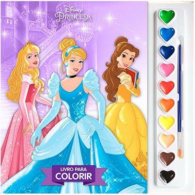 Livro para colorir infantil Disney aquarela Princesas Dcl PT 1 UN