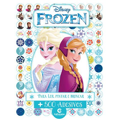 Livro para colorir infantil c/ 500 adesivos Frozen 270011 Culturama PT 1 UN