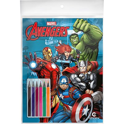 Livro para colorir infantil Vingadores c/ lápis 250033 Culturama PT 1 UN