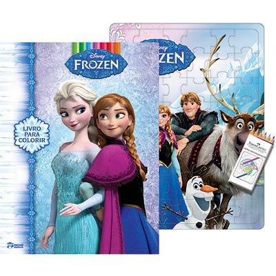 Livro para colorir infantil lápis Frozen Bicho Esperto PT 1 UN