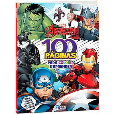Livro para colorir infantil c/ 100 páginas Avengers Bicho Esperto PT 1 UN