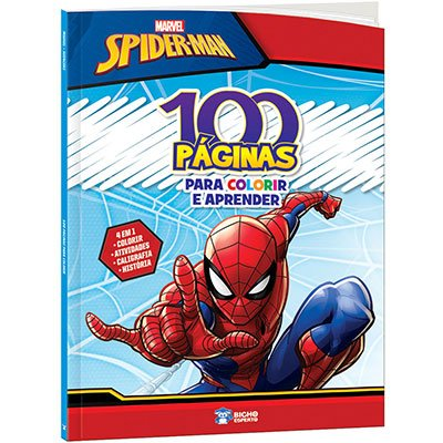 Livro para colorir infantil c/ 100 páginas Homem Aranha Bicho Esperto PT 1 UN