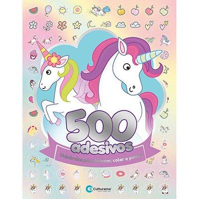 Livro para colorir infantil c/500 adesivos Unicórnio Culturama UN 1 UN