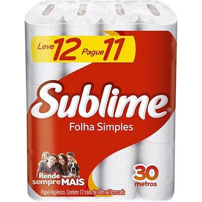 Papel higiênico simples c/ 30m Sublime leve 12 pague 11 Melhorampapeis PT 12 RL