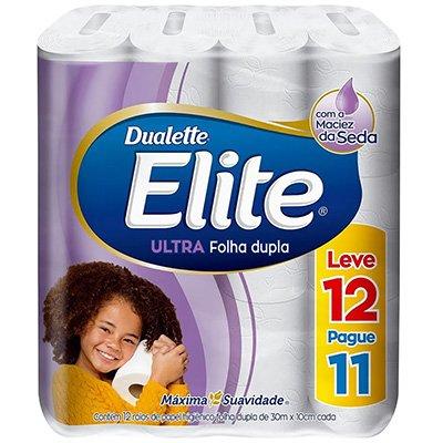 Papel higiênico dupla 30m Leve 12 Pague 11 Dualette Elite Melhorampapeis PT 12 RL