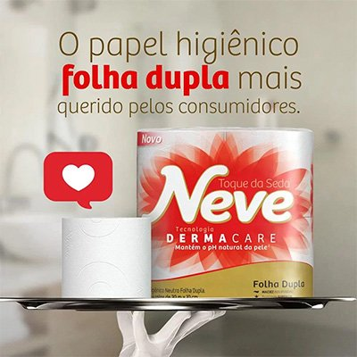 Papel higiênico folha dupla neutro c/ 30m Neve leve 24 pague 21 Kimberly PT 24 RL