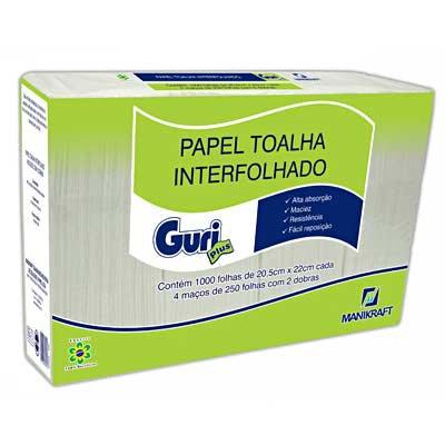 Papel toalha interfolha 20,5x22 2 dobras Guri fls Manikraft PT 1000 FL
