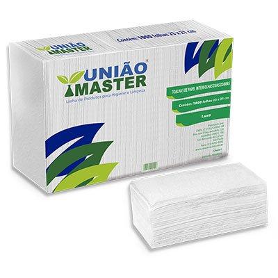Papel toalha interfolha 23x21 2 dobras Luxo c/ 1000fls Uniao Master PT 1000 FL