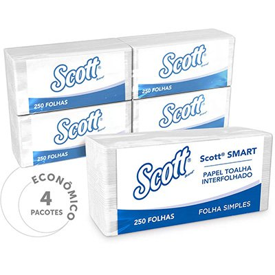 Papel toalha interfolha 21,5x19,2 2 dobras Scott Kimberly PT 1000 FL