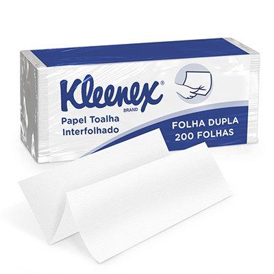 Papel toalha interfolha 21,5x22,2 2 dobras Kleenex fld Kimberly PT 200 FL