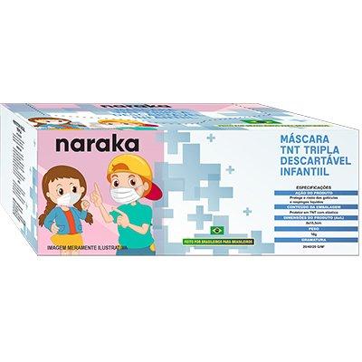 Máscara descartável em TNT Infantil Tripla 24685 Naraka CX 20 UN