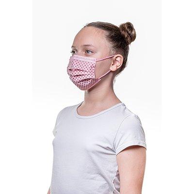Máscara descartável infantil poá rosa Life To Health CX 10 UN