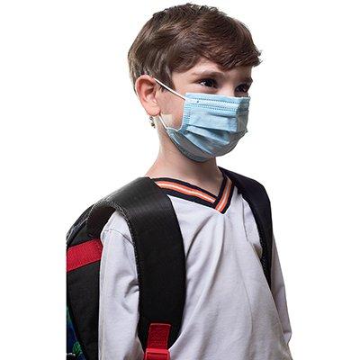 Máscara descartável infantil azul Life To Health CX 10 UN