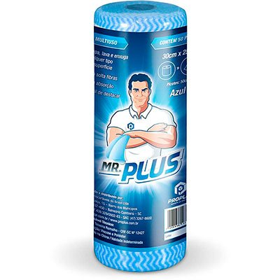 Pano multi-uso 30x50cm c/50 panos azul Mr. Plus Talge PT 1 RL