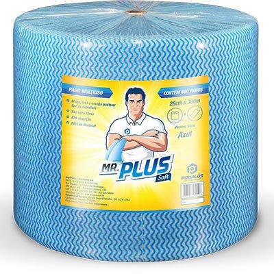 Pano multi-uso 28x50cm c/600 panos azul Mr. Plus Dvt Comércio Import RL 1 UN