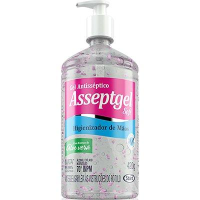 Álcool em gel antisséptico 420gr Asseptgel rosa Start Quimica PT 1 UN