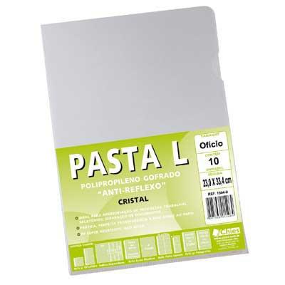 Pasta plástica em L pp 0,12 ofício cristal gofrado 1504 Chies PT 10 UN