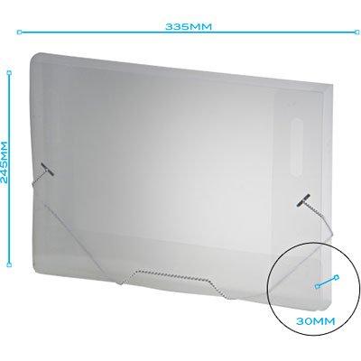 Pasta com aba elástico polipropileno Ofício - 30mm transparente A30 Plascony PT 1 UN