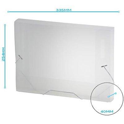 Pasta com aba elástico polipropileno Ofício - 40mm transparente A40 Plascony PT 1 UN