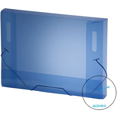 Pasta com aba elástico polipropileno Ofício - 40mm azul A40 Plascony PT 1 UN