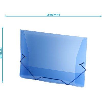 Pasta com aba elástico polipropileno 1/2 Ofício azul A01 Plascony PT 1 UN