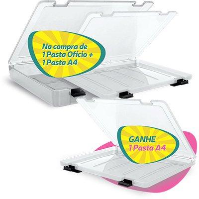 Kit pasta em pp rígido c/1 ofício e 2 A4 transparente Inject CX 1 UN