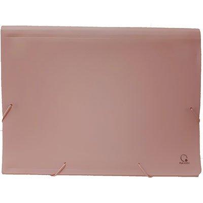 Pasta sanfonada plástica A4 12 divisórias rosa pastel SME12LP Plascony PT 1 UN