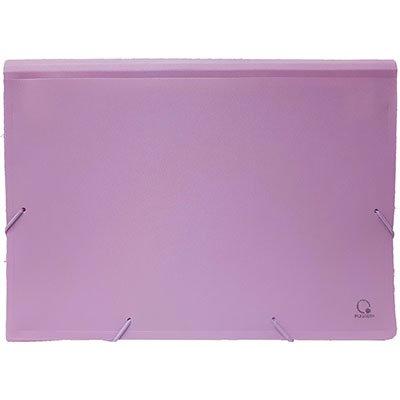Pasta sanfonada plástica A4 12 divisórias lilás pastel SME12LP Plascony PT 1 UN