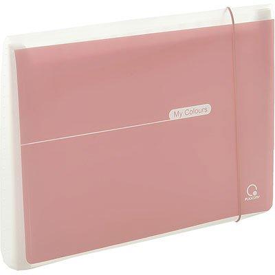 Pasta sanfonada plástica A4 12 divisórias My Colours rosa Plascony PT 1 UN