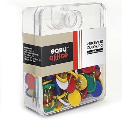 Percevejo 9,5mm colorido 100301 Easy Office PT 100 UN