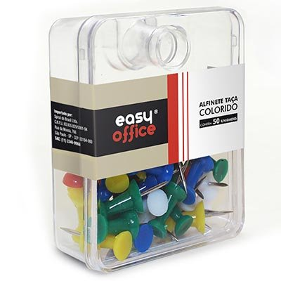 Alfinete para mapa tipo taça colorido Easy Office CX 50 UN