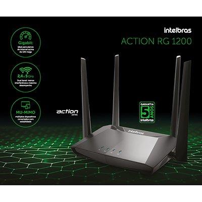 Roteador wireless 4 portas Gigabite Dual Band AC1200 RG1200 Intelbras CX 1 UN