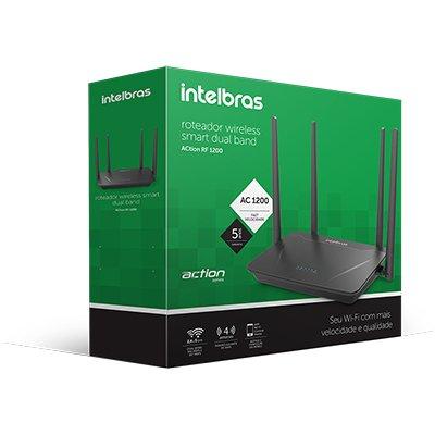 Roteador wireless Action RF1200, Dual Band, 4 portas Ethernet, Intelbras - CX 1 UN