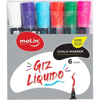 Giz líquido Chalk Maker c/ 6 cores 10070 Molin BT 6 UN