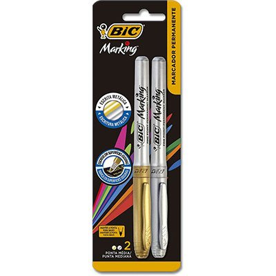 Pincel marcador permanente 1,1mm 2 cores metalicas 903936 Bic BT 2 UN