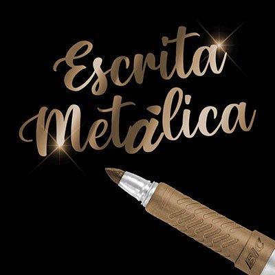 Pincel Marcador Permanente Tinta Metálica BIC Marking, Cor Bronze, Ponta Média 1.1mm, Escreve em Superfícies Escuras, 1 Unidade, 971034 - UN 1 UN