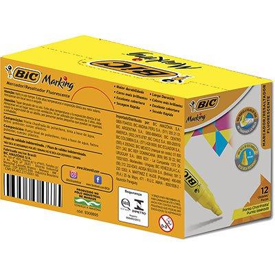 Pincel marca texto chanfrado amarelo 904396 BIC CX 12 UN