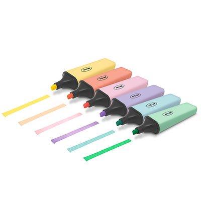 Pincel marca texto 6 cores sortido pastel 5113 Oval BT 6 UN