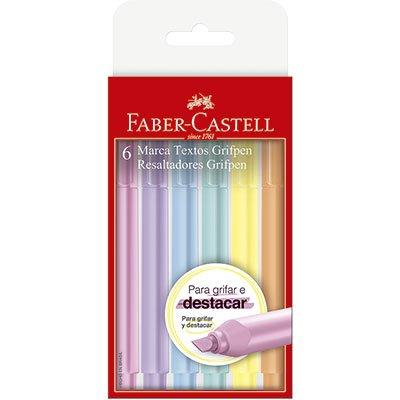 Pincel marca texto pastel 6 cores MT/TP6ZF Faber Castell BT 1 UN