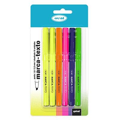 Pincel marca texto c/6 canetas - 5 cores Oval BT 6 UN