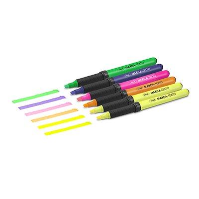 Pincel marca texto c/grip 6 canetas - 5 cores Oval BT 6 UN