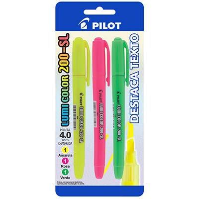 Pincel marca texto lumi-color 200-sl am/vd/rs Pilot BT 3 UN