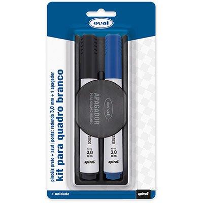 Kit Pincel quadro branco 3,0mm preto e azul com apagador Oval BT 1 UN